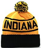 US Cities USA Great Indiana State Cuff Knit Pom Pom Beanie Gorra Hat Cap (Indiana Black/Yellow)