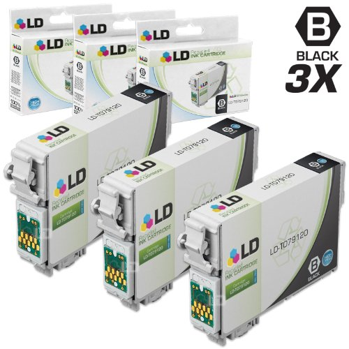 LD © Remanufactured Replacement for T0791 Set of 3 Black High Yield Ink Cartridges Includes: 3 T079120 Black for use in Artisan 1430, and Stylus Photo 1400 Printers