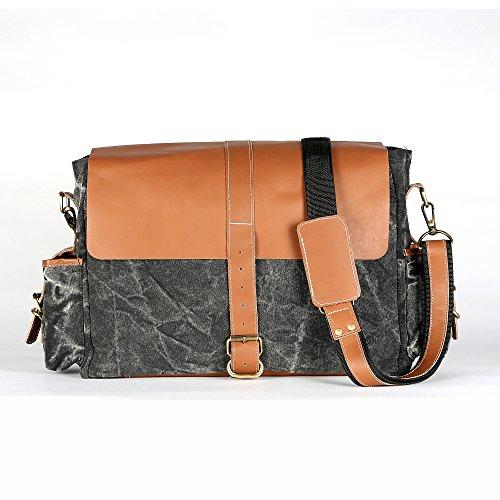 Del Negro Grande Diseño Decorlives Del Genuino Textura Hombro Gran Lienzo Mensajero Bolso Del Cuero 100 Bolso Del YgZxdpg