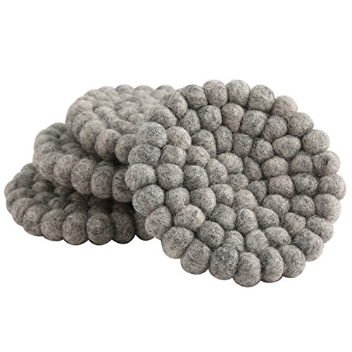 Heathered Gray Very Absorbent Machine Washable Heavy Wool Felt Drink Coasters for Drinks (The Coasters The Very Best Of The Coasters)