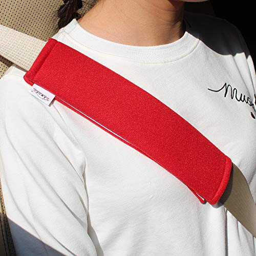 GAMPRO Car Seat Belt Pad Cover, 2-Pack Soft Car Safety Seat Belt Strap Shoulder Pad for Adults and Children, Suitable for Car Seat Belt, Backpack, Shoulder Bag(RED) ()
