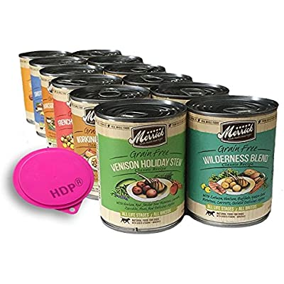 Merrick Dog Food Cans 13.2oz. Mix and Match Size:Pack of 12 with HDP Can Cover