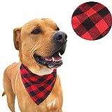 NACOCO Dog Bandana Bibs Pet Plaid Scarf Triangle Head Scarfs Accessories Neckerchief for Small and Medium Dog (M)