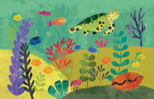Mouse + Magpie Bath Mat, Skid-Proof, Memory Foam, Soft, Quick-Dry Microfiber, 31''x19'' for Toddler, Kid, Child Bathroom, Sea Turtle Reef by Mouse + Magpie (Image #1)