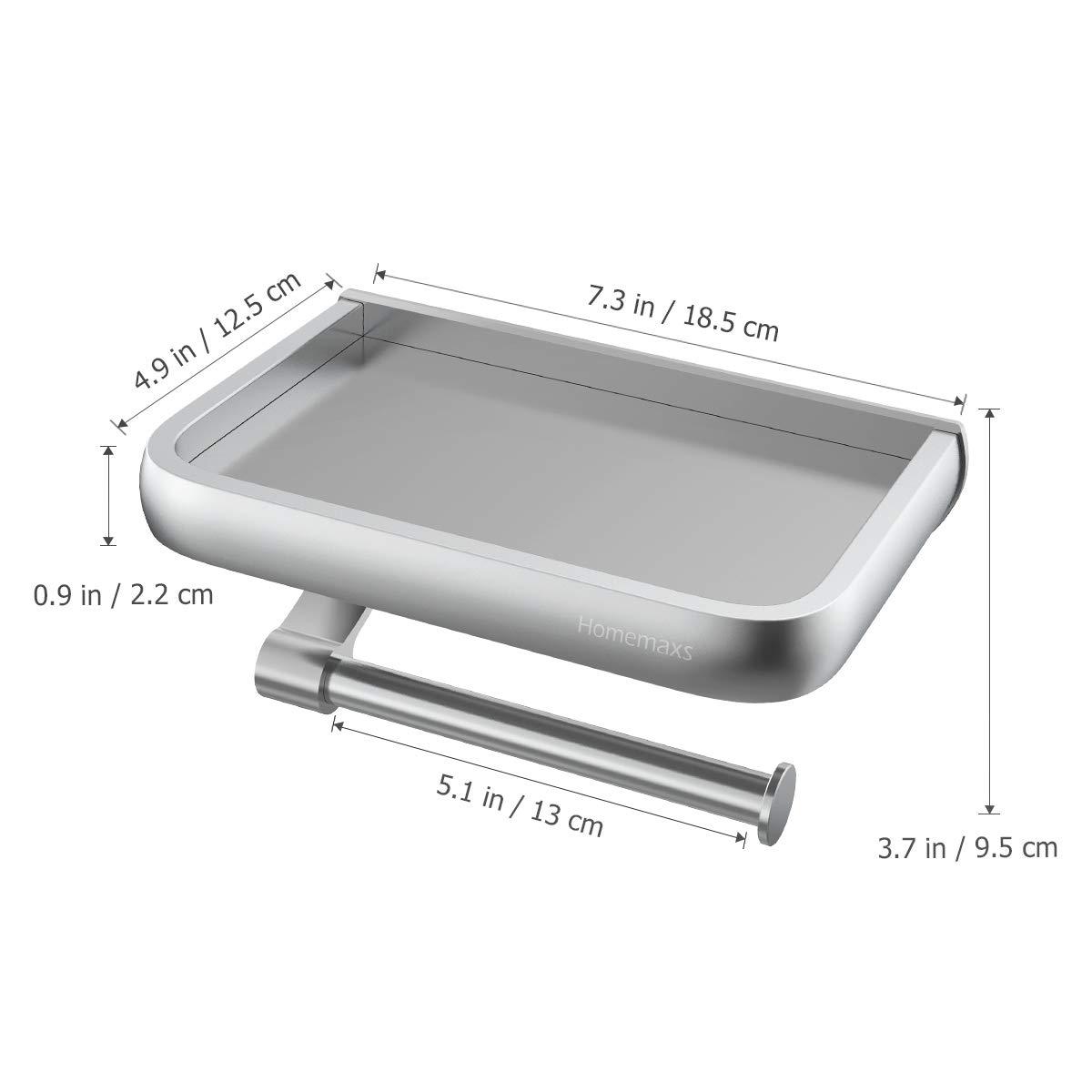 HOMEMAXS Portarrollos Baño Higiénico Instalación de Tornillos- Porta Rollos  de Papel Higiénico de Aluminio Inoxidable con ... 4dc06e216f4e