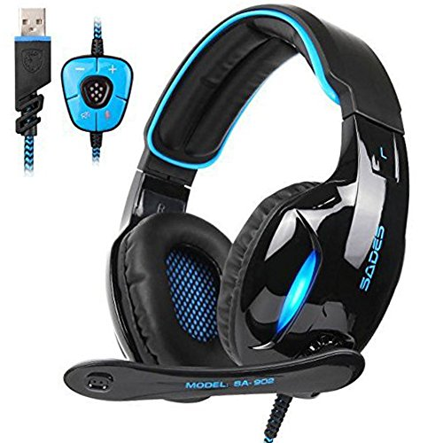 Sades SA902 PC Gaming Headset Wired USB 7.1 Channel Surround Sound Over Ear Computer Stereo Headphones with Microphone Noise Canceling Volume Control and LED Light (Black/Blue)