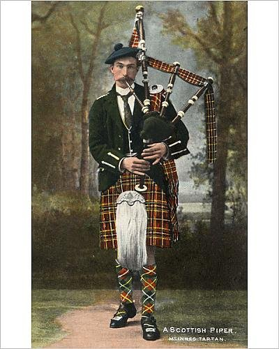 Photographic Print of A Scottish Piper wearing McInnes (Pipers Piping Costume)