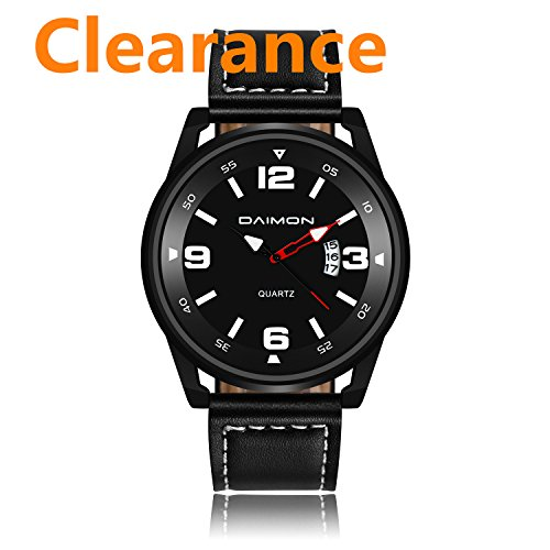 Daimon Men's Watch with Black Face Leather Strap Business Watch for Men