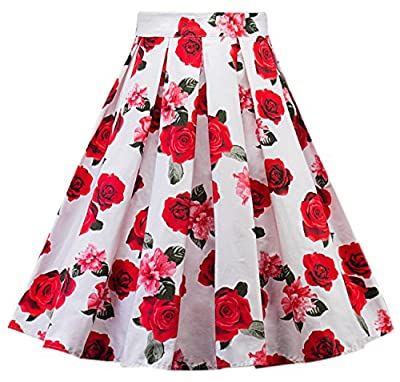 Womens Vintage a Line Skirt Midi Pleated Floral Printed Dr05