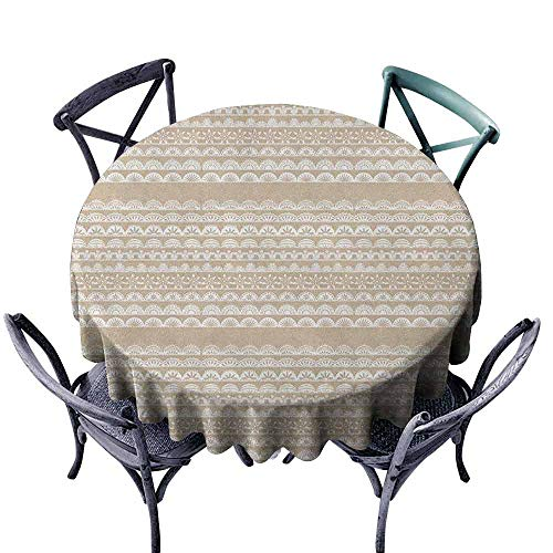 ScottDecor Modern Round Tablecloth Tassel Tablecloth Tan and White,Lace Style Antique Border Motifs Collection Vintage and Feminine Ornament, Tan White Diameter 50