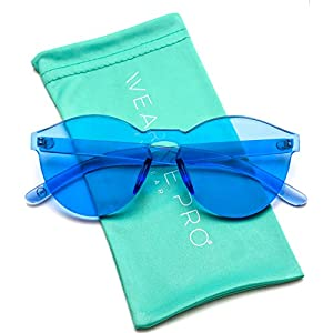 WearMe Pro - Colorful Transparent Round Super Retro Sunglasses (Blue, 59)