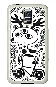 Cartoon Deer PC White Hard Case Cover Skin For Samsung Galaxy S5 I9600