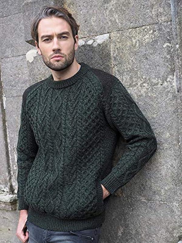 Aran Crafts Irischer Zopfstrick-Rundhalsausschnitt mit Tweed (100% Merinowolle) für Męskie: Odzież