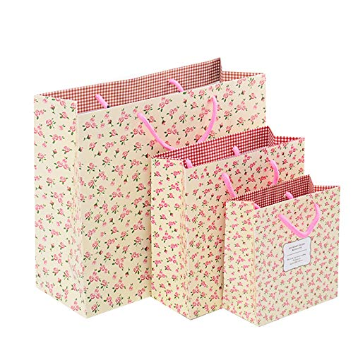Gold Happy 5pcs Gift Paper Bags Packaging Shopping Bag Wedding Birthday Gift Flower Ribbon Bow 20208cm 302712cm Party Fresh Floral