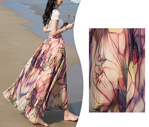 Bevalsa Bohme imprim lgant Plisse Color Dress Plisse en Mousseline vase Tull t Boho Femme Taille Longue Grande de Jupe Soie 5 Casual Fluide Flamenco en lastique Floral rXqxOP6rw