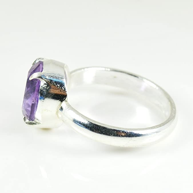 Natural  Amethyst  Vintage Style Setting Handmade 925 Sterling Silver Plated Gemstone Ring  Size 7.5 US Jewelry M 7126