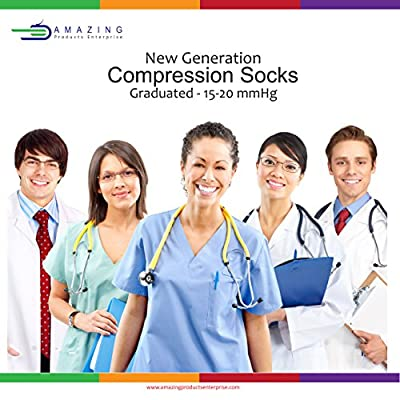 New Generation Compression Socks Best for Men & Women(15-20 mmHg) and (20-30 mmHg) Graduated Fit for Running, Nurses, Flight Travel, Pregnancy – Best in Amazon, increase Circulation & Reduce Swelling