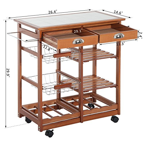 HOMCOM 30'' Wooden Rolling Kitchen Organizer Cart Tile Countertop With Basket Storage Wine Rack by HOMCOM (Image #6)