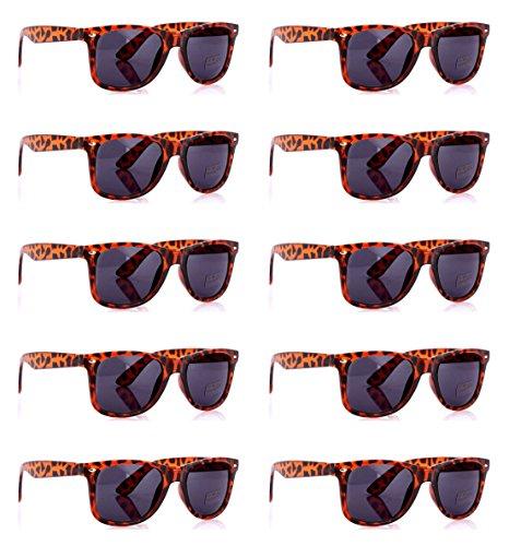 SCLM Wayfarer 80's Style Sunglasses 10 Bulk Pack Lot Neon Color Party Glasses (Leopard 10 Pack) (Bulk Wayfarer Sunglasses)