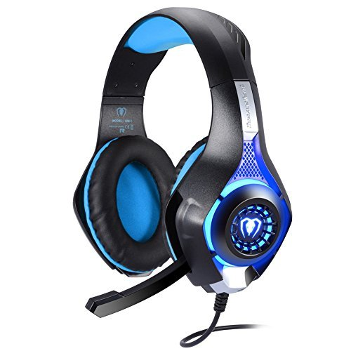 Ofun Gaming Headset with Adapter Cable for PC, USB 3.5mm Over-Ear Headset for PS4 PSP Xbox one Tablet iPhone Ipad Samsung Smartphone,with Microphone Black+Blue GM1
