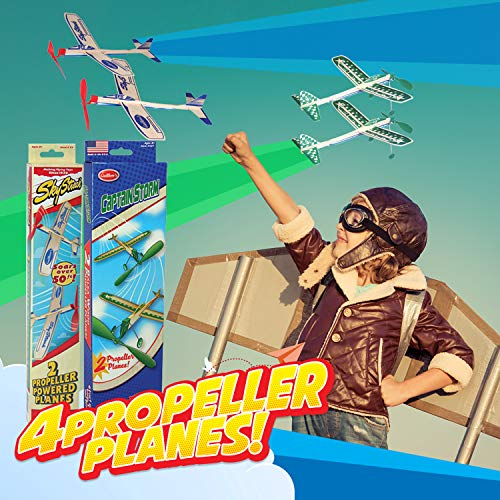 Balsa Wood Airplane Glider and Parachute Man Rubber Band Powered Sky Streak and Captain Storm Twin Packs 5 Piece Set by Guillow (Image #1)