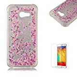 Funyye Liquid Quicksand Case for Samsung Galaxy A520/A5 2017,Sparkly Flowing Glitter Rose Red Love Hearts TPU Case for Samsung Galaxy A520/A5 2017,Slim Soft Rubber Flexible Clear Protective Silicone Case for Samsung Galaxy A520/A5 2017 + 1 x Free Screen Protector