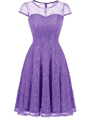 DRESSTELLS Women's Bridesmaid Dress Retro Lace Swing Party Dresses with Cap-Sleeves Purple S by DRESSTELLS
