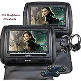Eincar 2X Twin Car Headrest DVD Player 9 HD Touchscreen FM&IR Transmitter Game&IR Headphones Pillow Monitor + Remote control(Color optional) (Black)