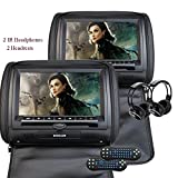 Eincar 2X Twin Car Headrest DVD Player 9'' HD Touchscreen FM&IR Transmitter Game&IR Headphones Pillow Monitor + Remote control(Color optional) (Black)