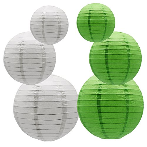 Round-Hanging-Paper-Lanterns-Decorations-Party-Wedding-Birthday-Baby-Showers-Supplies-White-Green-12-10-8-6-Pack