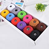 Mixed Color Crochet Thread Lot Cotton Sewing Threads Embroidery Floss Knitting Crochet Patterns Cotton 29x11cm 12Pcs