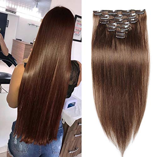 Jisheng Clip In Human Hair Extensions 28inch Brazilian Silky Straight Virgin Hair Double Weft 100% Human Hair Clip In Extensions 7pcs 16 Clips 160g Brown Color