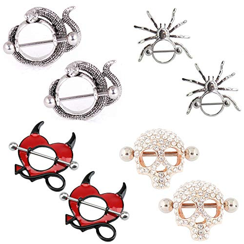 - Nipplerings Piercing Women,IrbingNii Nipple Bars Jewelry Nipple Shields Red Heart with Arrow,Skull,Spider,Snake 4 pairs