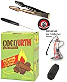 Cocourth Organic Coconut Hookah Charcoal 60 piece 1kg box Long Super Extra Large Hex Hexagon Coals With Bonus Starbuzz Tongs Foil Poker and Shisha Shaped Air Freshener