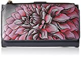 Anuschka Hand Painted Organizer Wallet/Clutch Wallet, Drd-P-Dreamy Dahlias Pink, One Size