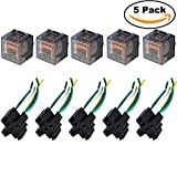 Ehdis® [5 Set] Car Truck Motor Relay Socket with Connector Heavy Duty 12V 100A SPDT Waterproof Seal Transparent Case 5 Pin 5 Wire JD2914