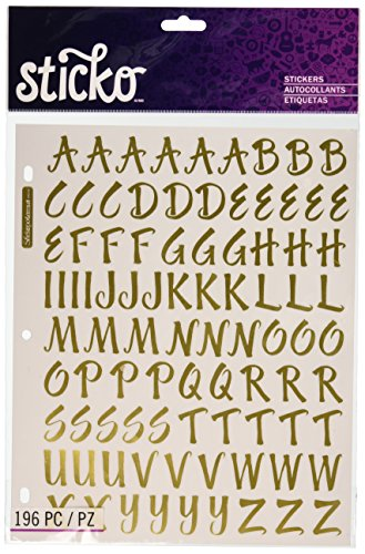 Sticko 1-Inch Susy Ratto Brush Letter Stickers, Golden Foil (Scrapbook Letters Stickers)