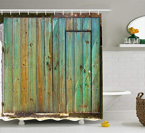- Ambesonne Vintage Shower Curtain, Rustic Old Wood Gate Dated Tuscany House Entrance with Antique Texture Photo, Fabric Bathroom Decor Set with Hooks, 75 Inches Long, Mint Brown