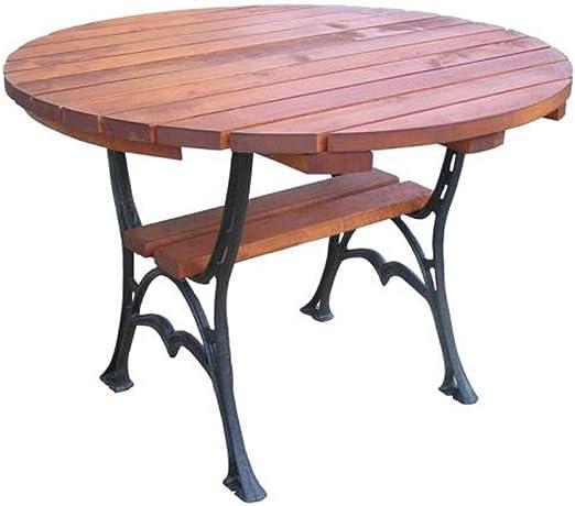 QLS Table de Jardin Ronde en Bois 100 x 75 cm: Amazon.fr: Jardin