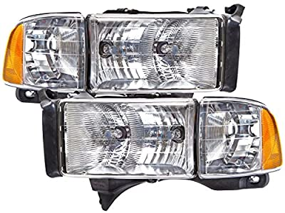 Dodge Ram Sport Headlights Set w/Halogen-Type Xenon Bulbs