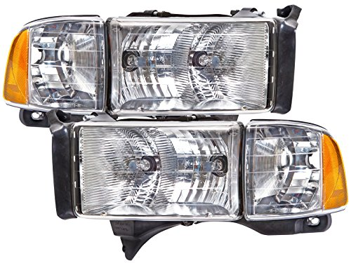 HEADLIGHTSDEPOT Chrome Housing Halogen Headlights Compatible with Dodge Ram Sport Models ONLY 1500 2500 3500 Includes Left Driver and Right Passenger Side Headlamps