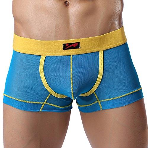 Threeseasons Men's See-Through Underwear Boxer Briefs 3 Size S~L (M, 6)