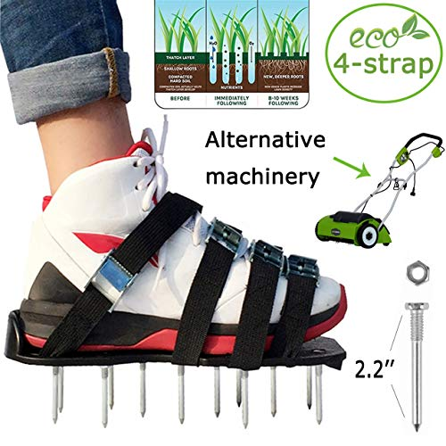 Lawn Aerator Shoes Spiked Sandals Shoes Garden Tool Adjustable 4 straps Zinc 2 extra spikes and wrenches alloy buckle Aerating Lawn Soil Easy to install For Garden Lawn or Construction industry(Green) by gardenme