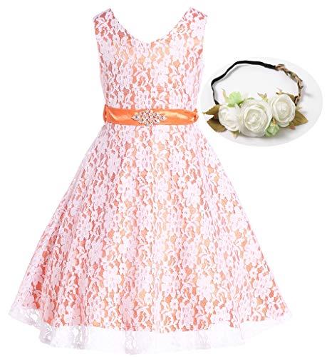 (Bow Dream Lovely Lace V-Neck Flower Girl Dress Flower Orange)
