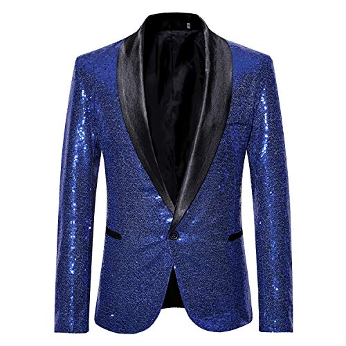 MAGE MALE Mens Tails Slim Fit Tailcoat Sequin Dress Coat Swallowtail Dinner Party Wedding Blazer Suit Jacket (X35-Blue, L)