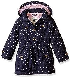 Osh Kosh Little Girls\' Toddler Printed Trench Coat, Heart Print, 3T