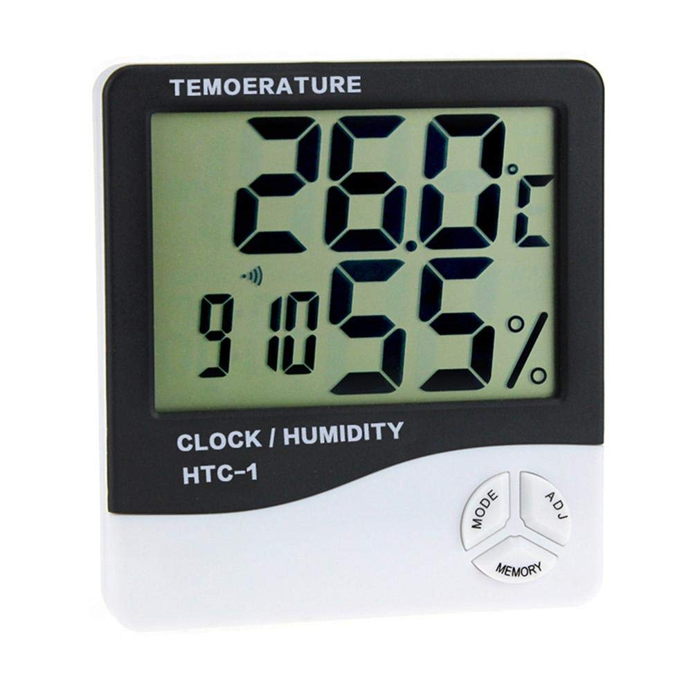 LCD Digital Temperature Humidity Meter Clock Kitchen Thermometer Hygrometer