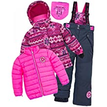 Deux par Deux Girls' Black Iris 3-Piece Snowsuit Nevada Girls, Sizes 5-14