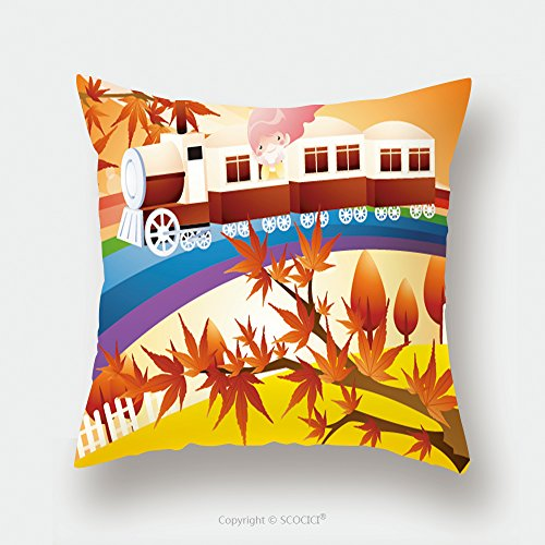 Custom Satin Pillowcase Protector Happy Travel Riding Cute Young Girl With Romantic Maple Tree On A Pretty Colorful Railroad 18818296 Pillow Case Covers Decorative by chaoran