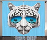 Ambesonne Animal Curtains by, Hand Drawn Portrait Tiger with Mirror Sunglasses Palm Trees Reflection, Living Room Bedroom Window Drapes 2 Panel Set, 108W X 90L Inches, Grey Sky Blue Dark Blue
